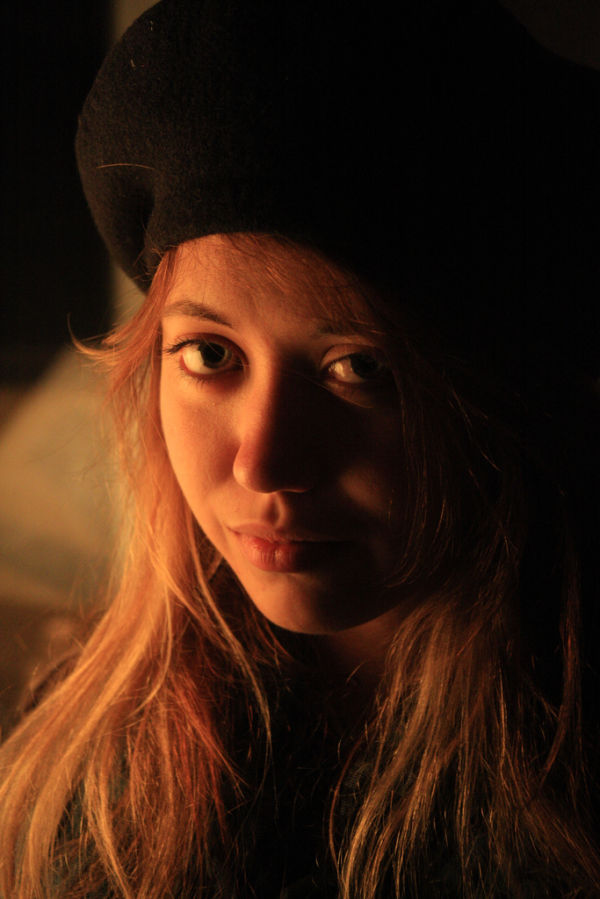 A sad french girl in a beret