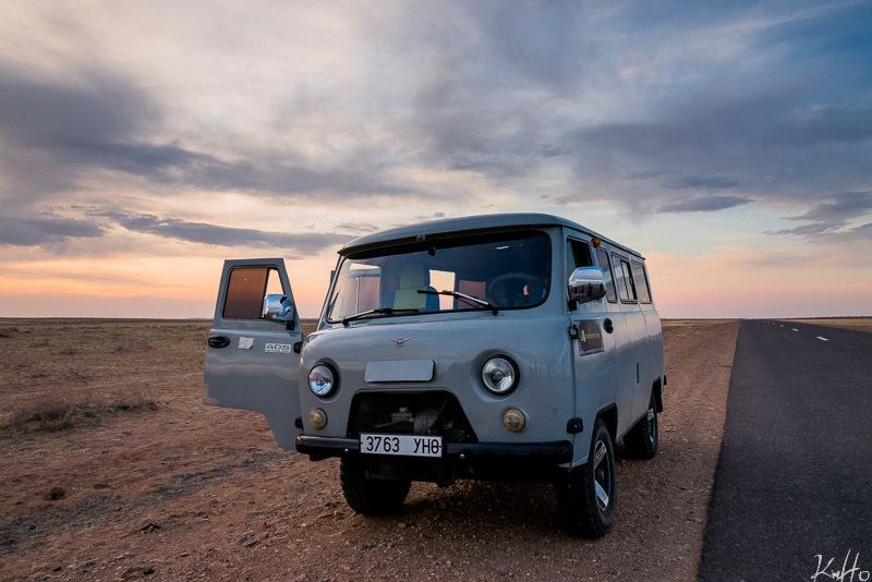 our trusty van in mongolia
