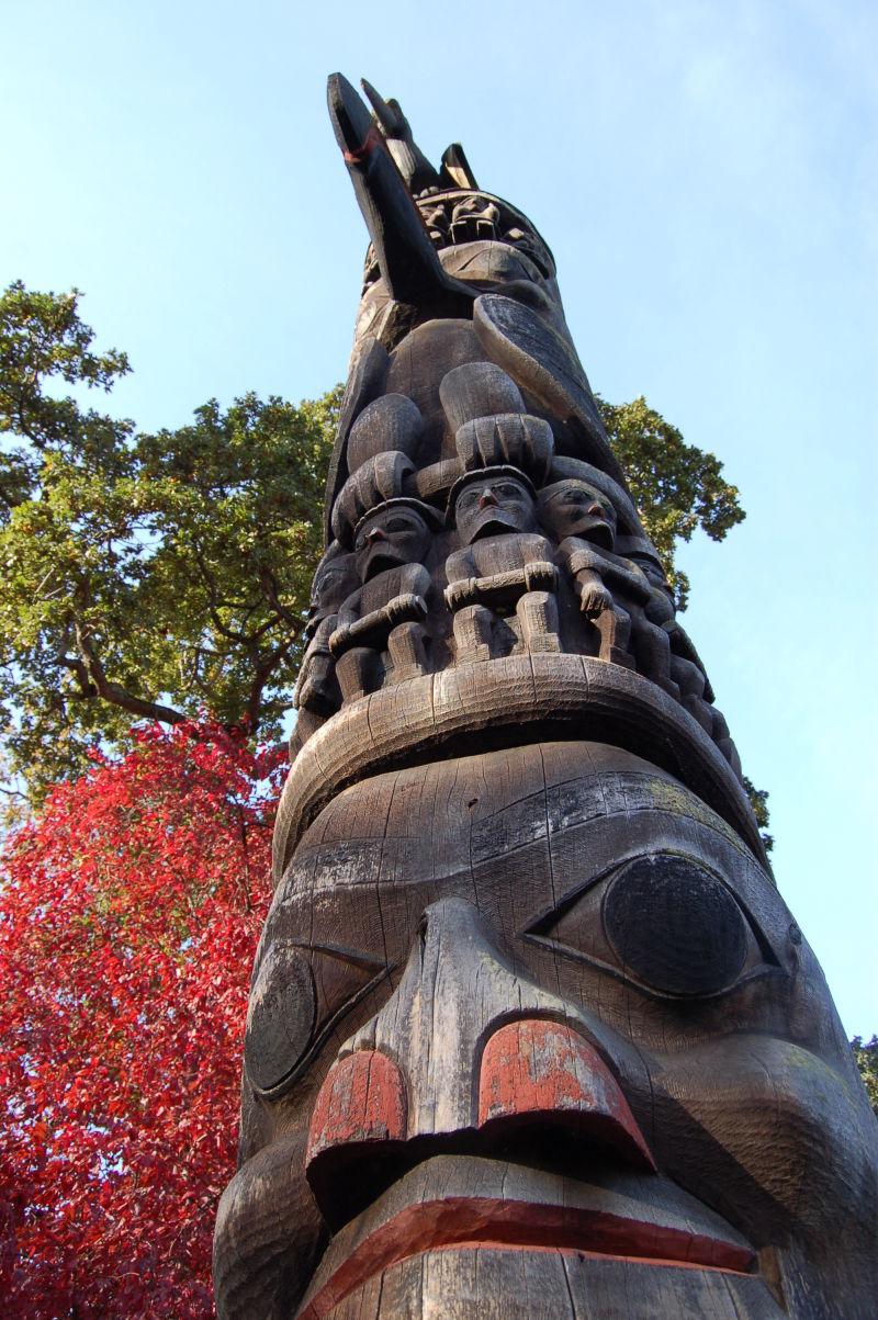View of one of the totem poles in Victoria,BC