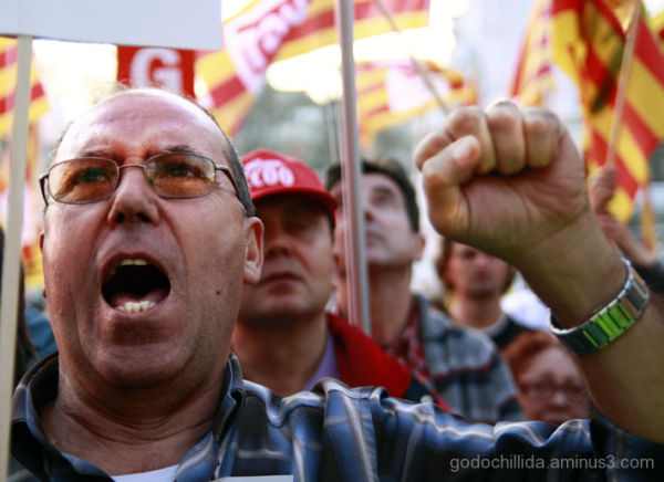 Protest march against the crisis. Barcelona
