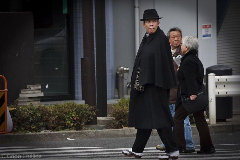 Man, weirdo, black, pedestrian, crosswalk, Tokyo,