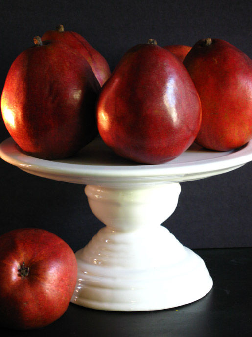 A plate of red pears