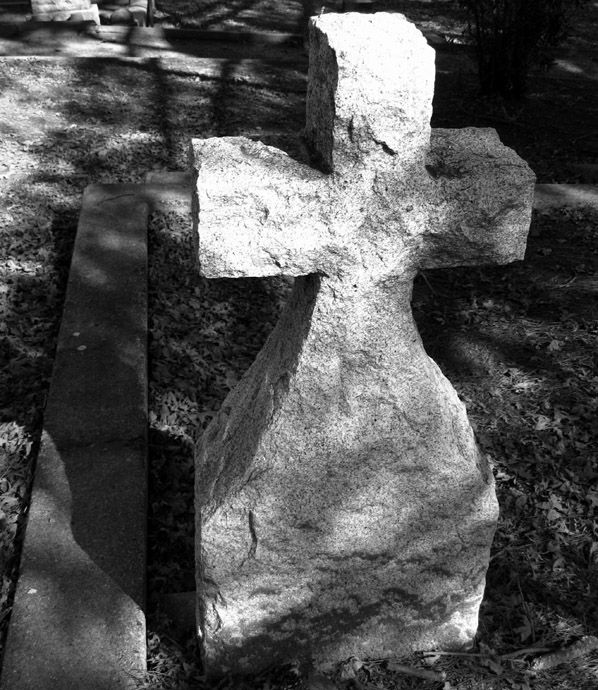 gravestone marker in black & white