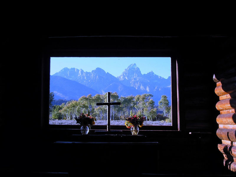 Grand Teton Mts. through window of Chapel