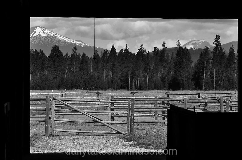 two mountains seen through the barn.....