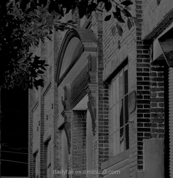 brick building & door pediment