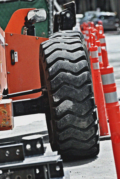 construction zone: tires and pylons .....