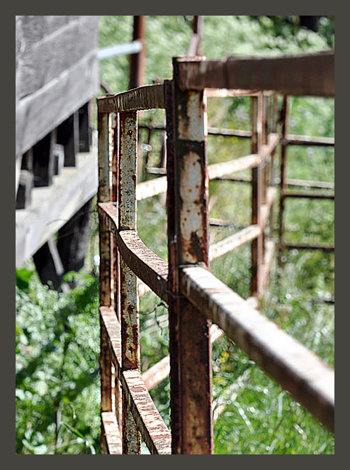 rusted fencing on the ranch ....