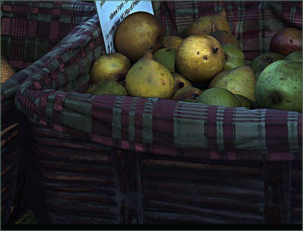 organic apples at the farmer's market . . .