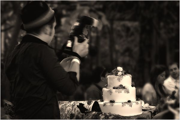 wedding party:  the camera man and the cake