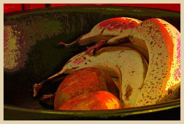 a bowl of apples & ripe bananas  . . .