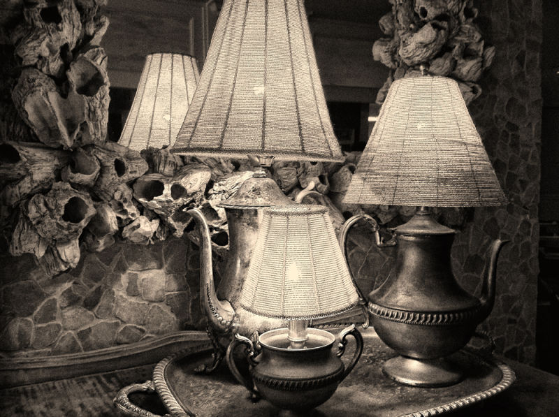 beaded-shade lamps on a tray, with mirror  . . .