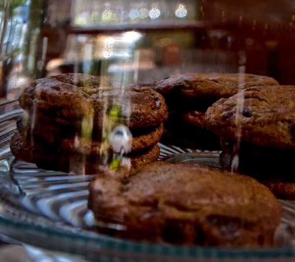 chocolate chip cookies under glass . . .