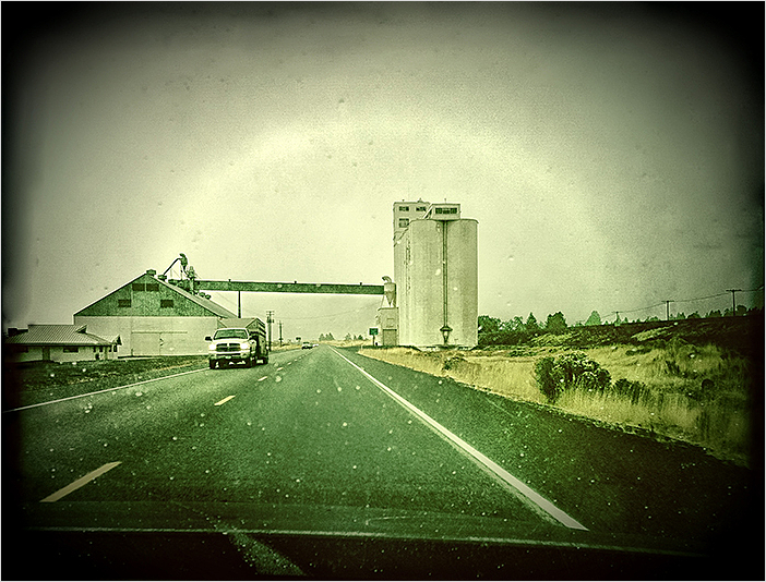 silos in the rain  . . .