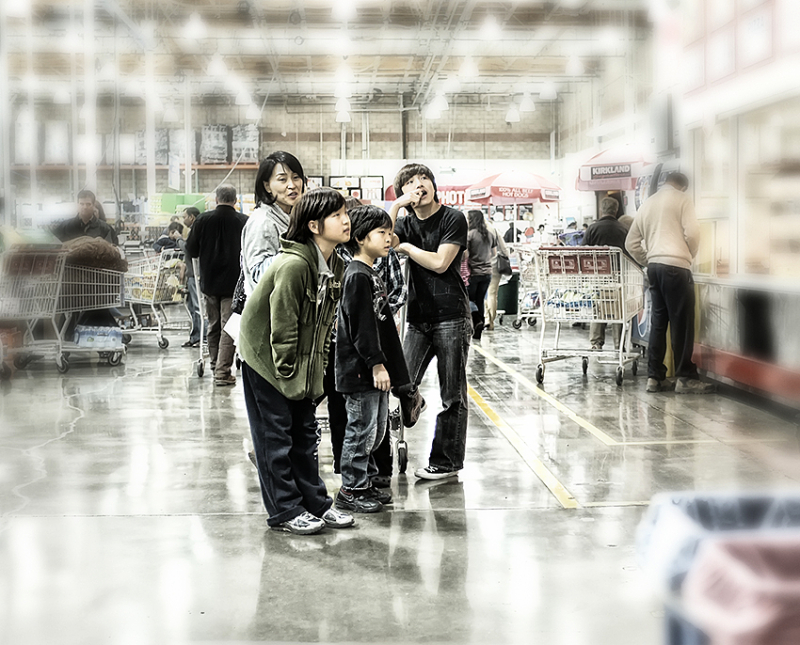 mother and children deciding what to buy