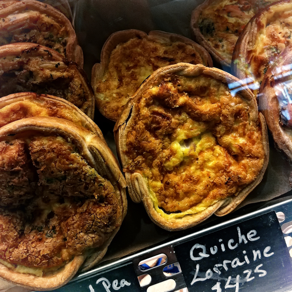 quiche behind glass   . . .