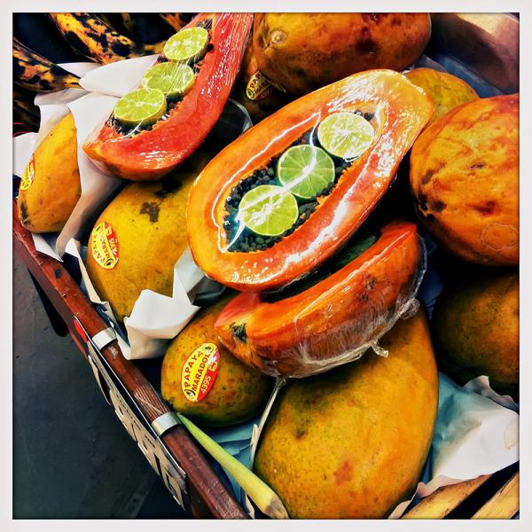 shrink-wrapped papaya   . . .