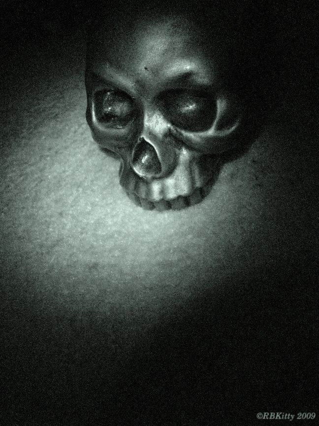 skull in night vision grey