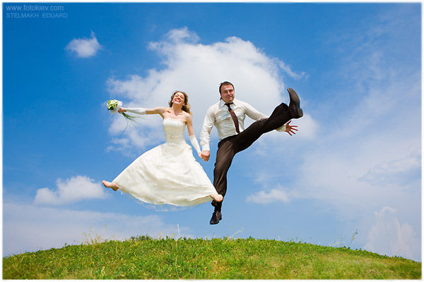 man, women, love, wedding, jump, happy