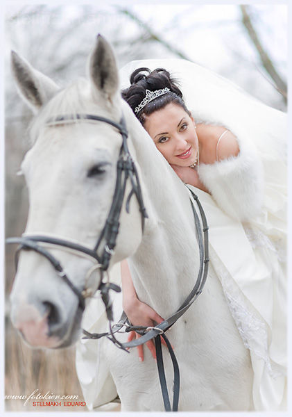 fiancee & white horse
