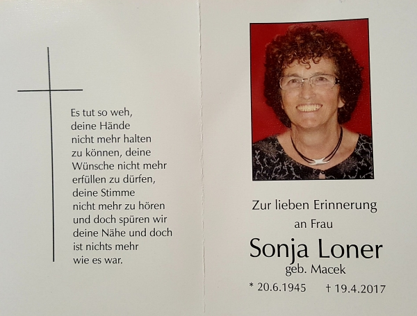 Thanks to all the friends of Sonja