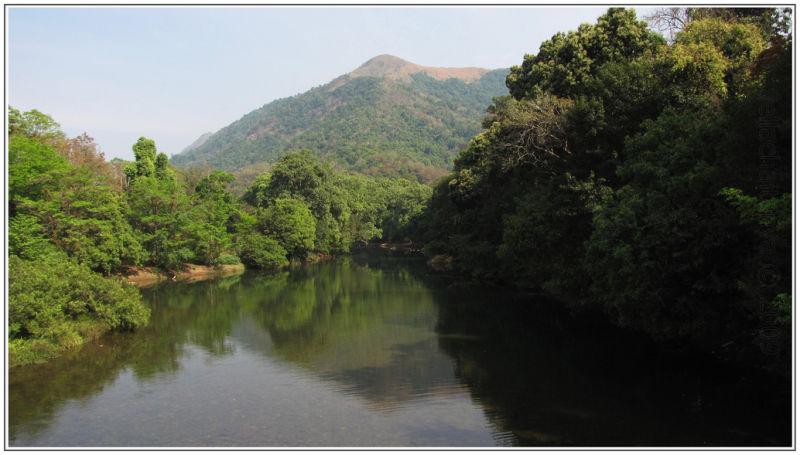 mountain peak seen in water