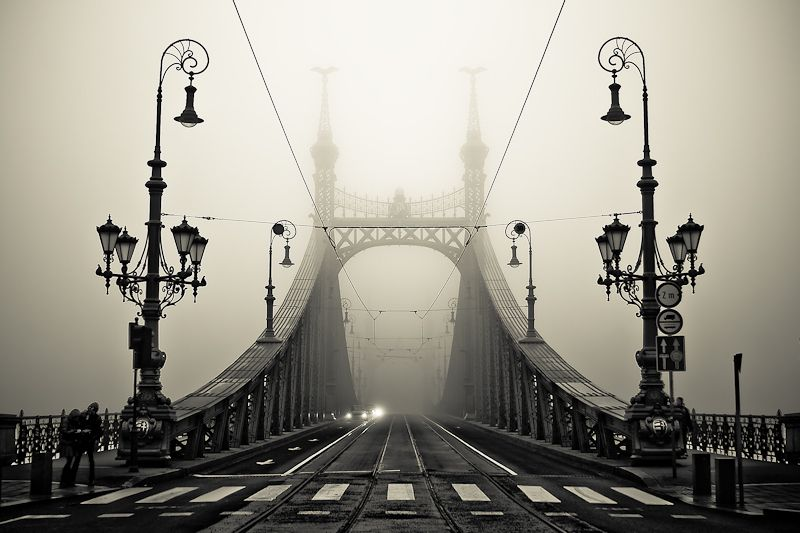 Budapest in a very foggy day
