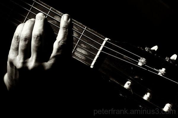 guitar music hand b&w