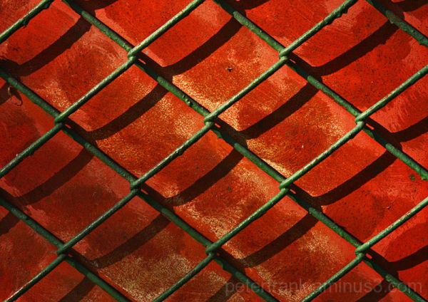 abstract red fence grid