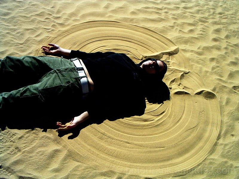people portrait desert sand yellow