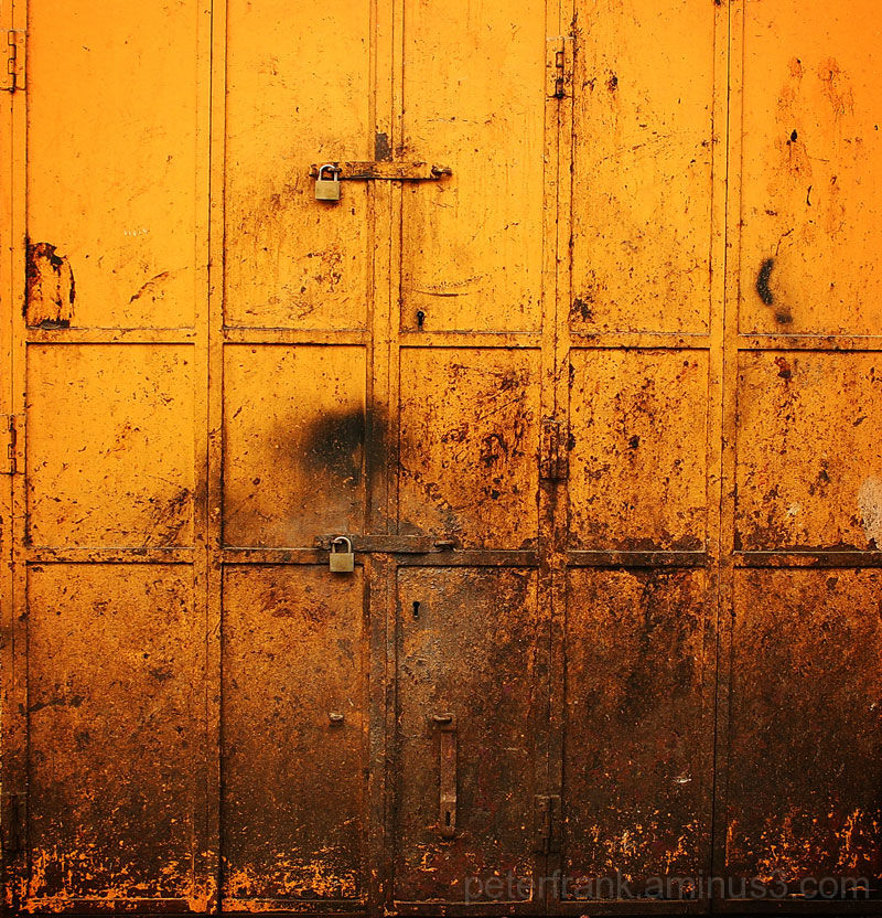 abstract metal orange yellow gate door