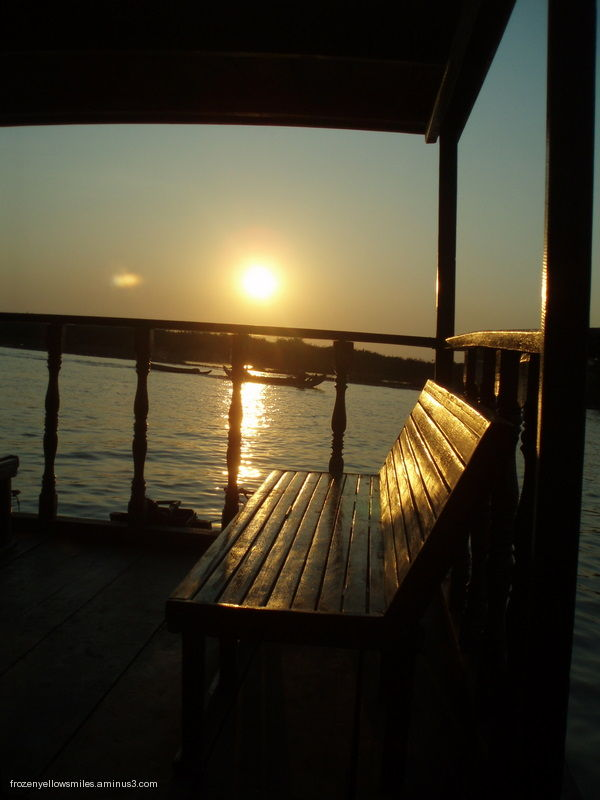 sunset Cambodia river bench