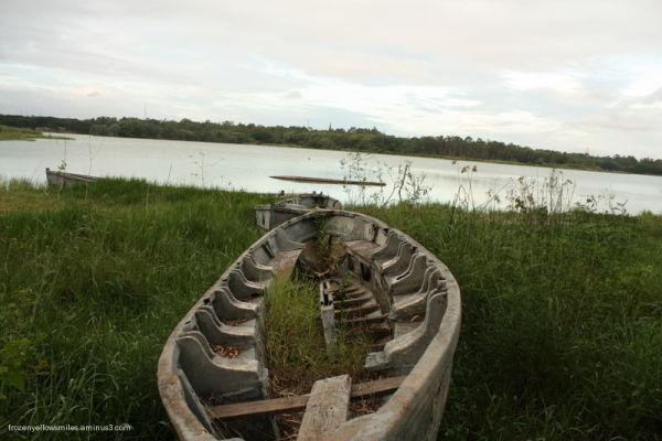 boat lake sky green