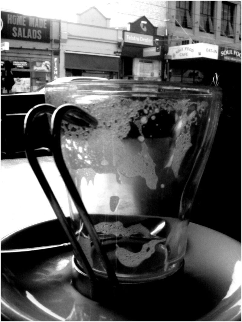 Empty glass of coffee