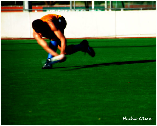 Hockey player in a middle of a game