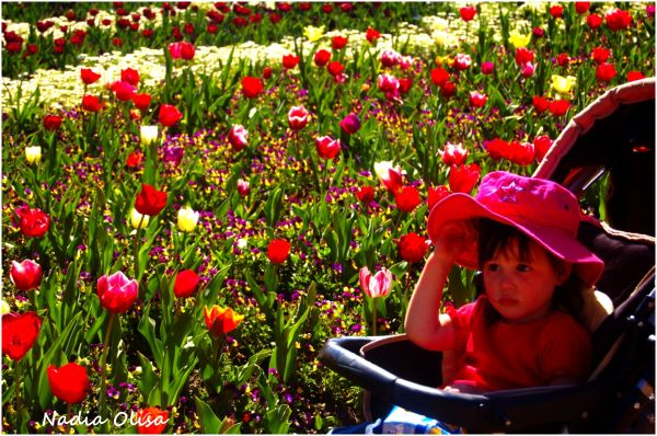 Child next to flowers
