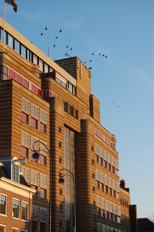 First spring sun on Art Deco building