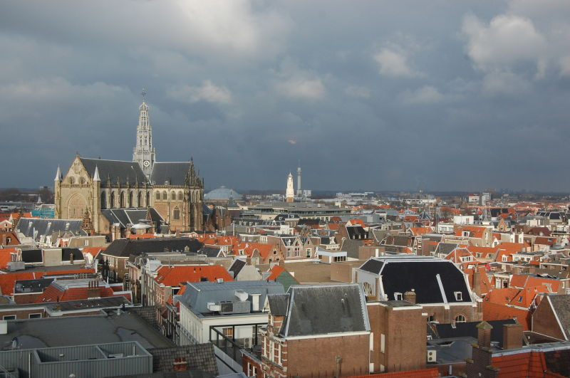 Roofs of Haarlem under a lead sky
