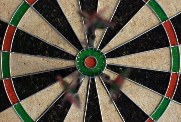Darts surrounding the bullseye.