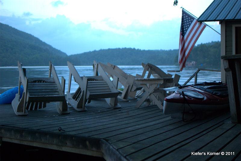 Lake Titus dock at dusk.