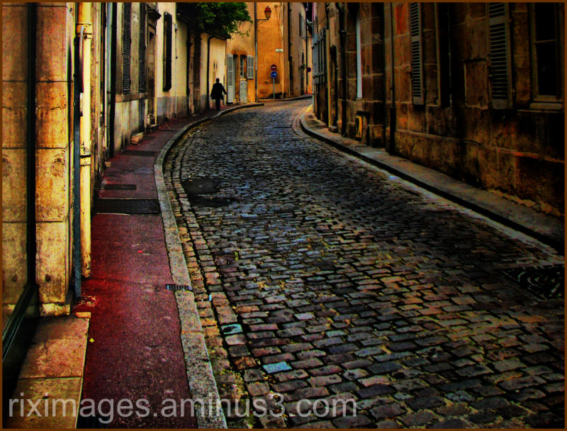 Cobblestone road and walkway