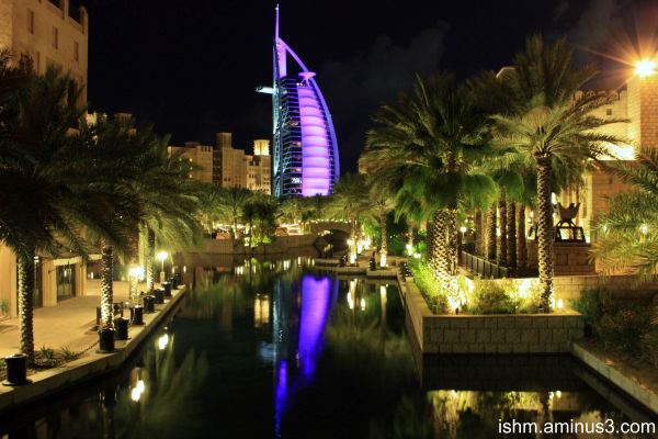 night shot, burj al arab hotel