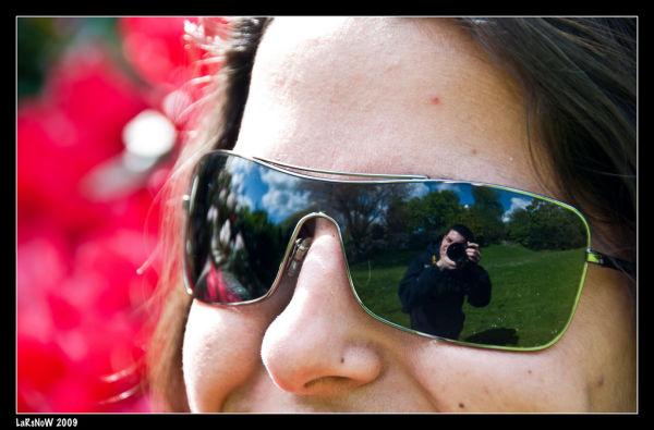 Jo en el reflex de les ulleres