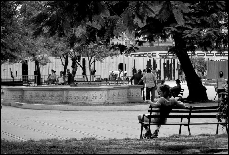 A guy in a bench