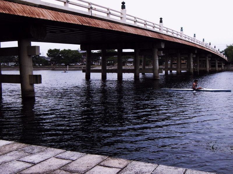 Passing through under a bridge