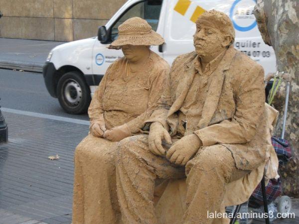 Parella terrosa a la Rambla Barcelona