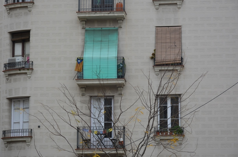 Balcó  amb persiana verda i estelada