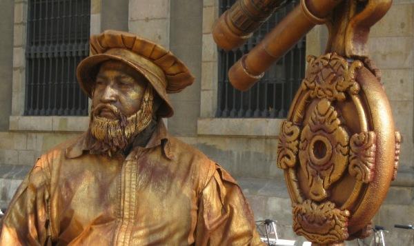 Estàtua vivent a les Rambles