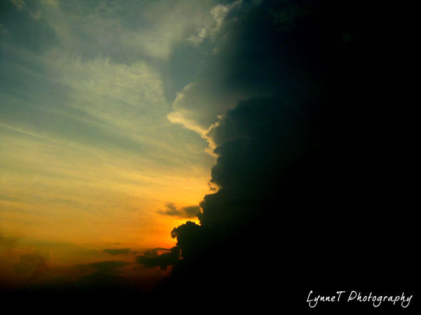 sunset, dark skies,