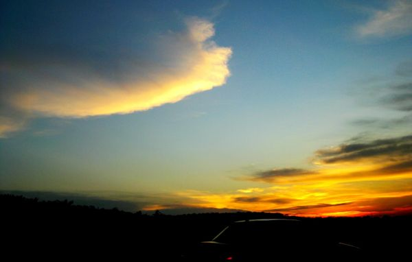 sunset, blue skies